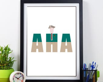 Alan Partridge fan print - The famous 'AHA' catchphrase with a minimalist Alan Partridge image inset. Fun wall art.  A3, A4 or A5