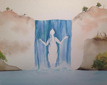 Pregnancy Watercolor - Over the Edge - fertility art, maternity painting, feminine birth affirmation