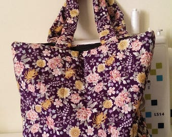 Purple Floral Tote Bag