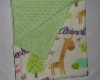 Reversible Minky blanket, fleece blanket for baby or toddler