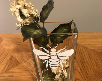 Glass Vases with Nature Decal