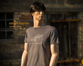 Zeppelin Aircraft Shirt for men T-Shirt for men military graphic tee with flowers and airship zeppelin grey tee gift for him