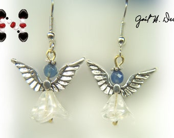 Angel Earrings with Blue Onyx