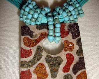 Aqua choker with animal print pendant