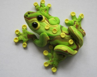 Tree Frog Sculpture, Frog Totem, Polymer Clay Frog, Yellow Green Brown, Clay Frog