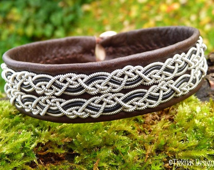 Vikings and Shield Maidens Braided Bracelet Cuff MUNINN in Brown Leather decorated with Pewter