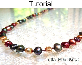 Jewelry Making Beading Pattern - Pearl Knot Tutorials - Beaded Bracelets and Necklaces - Simple Bead Patterns - Silky Pearl Knot #298