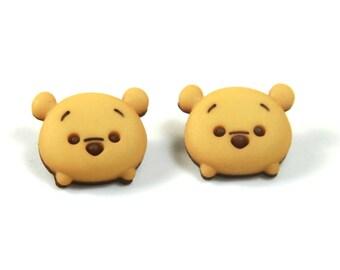 Winnie earrings, Pooh studs, Winnie the pooh earrings, Disney theme earrings, Pooh earrings