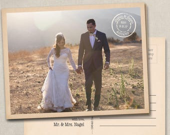 Rustic Wedding Thank You Photo Postcards Cards Notes Magnets Magnet vintage postmark postcard western country postage thank you stamp travel