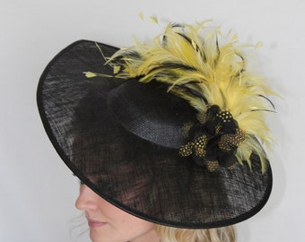 yellow and black fascinator, hat, hatinator, large statement headpiece kentucky derby, melbourne cup, royal ascot