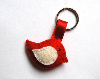 Felt bird keychain - handmande felt animals - key holder - wool felt - eco friendly
