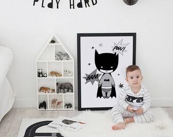Batman print, nursery wall art, boys room decor, boys prints, batman wall print, boys decor, nursery print, Scandinavian print, boys poster