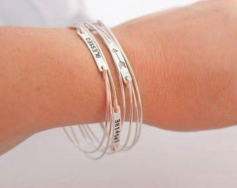 stacking bangle bracelet, word of the year, word bracelet, push present, mommy bracelet, personalized bangle, date bracelet, name bracelet