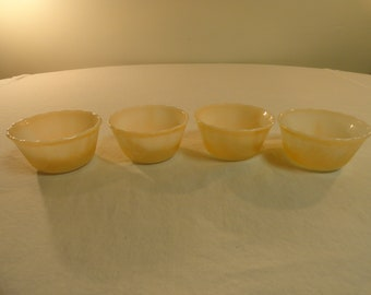 Set Of 4 Fire King Peach Lustre Custard Cups