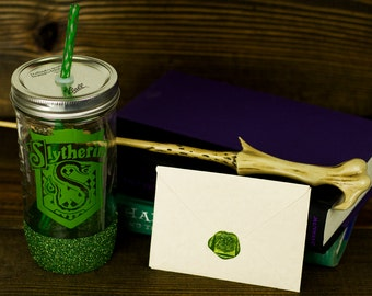 Slytherin Glass Tumbler// Hogwarts House Tumbler // Harry Potter Gift Set