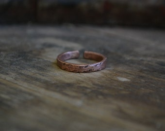 Simple adjustable copper ring band, rustic copper ring band, textured copper ring band, men's copper ring band, women simple copper ring