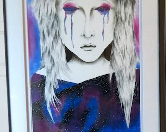 "Original Art Print - ""Isolation"" - Galaxy Girl Portrait Painting"