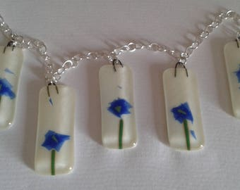 Flowers, Glass art, Blue flowers fused glass pendant chain. Window decoration. Sun catcher. Kitchen. Living room. Fused glass wall art.