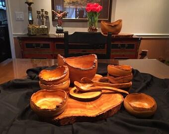 Olive Wood Salad Bowl Set, Natural Edge, Serving bowl and 6 individual bowls,, natural wood kitchen and Dining