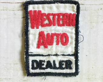 Vintage Western Auto Dealer Black and Red Rectangle Patch
