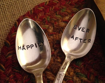 Hand Stamped Silver Plate Coffee Spoons, Wedding Gift, Shower Gift, Silver Spoons, Vintage Spoons