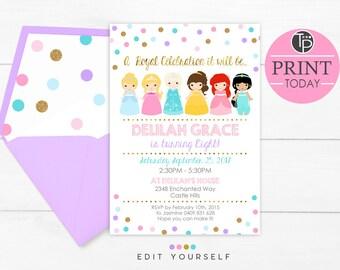 PRINCESS Invitation, Instant Download PRINCESS Invitation, Princess Confetti Invitation, Princess Party, Princess Party invitation, Editable
