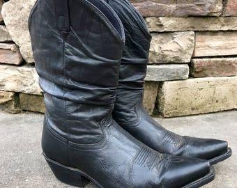 Dingo Slouchy Western Boots Black Leather Cowboy Biker Boots Men's Size 11