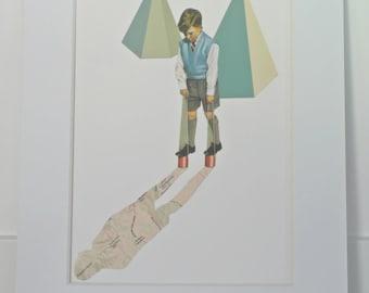 Vintage Boy Collage, Ready to Frame, Geometric Art, Giclee Print, Minimalist Art, Nursery Art, Child Decor, Retro Collage Art, Map Art