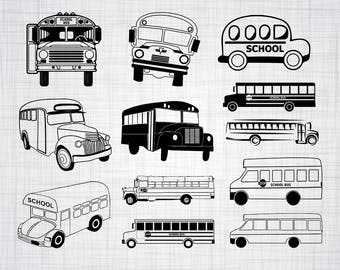 School Bus SVG Bundle, School Bus SVG, School Bus Clipart, Cut Files For Silhouette, Files for Cricut, Vector, Svg, Dxf, Png, Eps, Decal