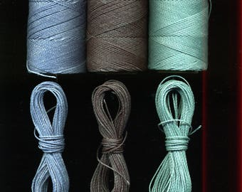 3 x 10 meters Linhasita, blue, gray-blue, and blue-green macrame thread