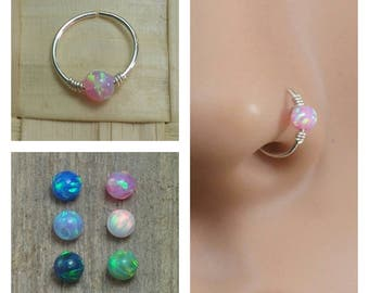 Nose ring, Nose hoop, Nose ring hoop, Nose piercing, Nose jewelry, Opal nose ring, Opal nose hoop, Tiny nose ring, small ring hoop,