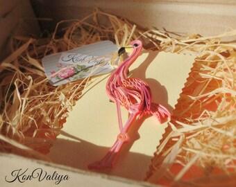 Flamingo Jewelry, flamingo brooch, pink bird, quilling art, paper art, jewerly pin, jewelry badge, bird brooch, bird pink brooch.
