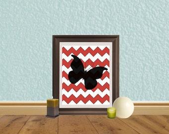 Chevron Butterfly Digital Download - Instant Art - Red Chevrons - Girls Bedroom Art - Going Away Gift