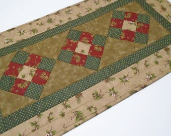 Country Quilted Table Runner Earth Tones, Winter Quilted Table Topper, Christmas Quilted Table Runner, Country Decor, Woodland Table Runner
