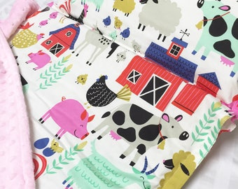Nap Mat with Pillow, Daycare Nap Mat, Farm Animal Nap Mat, Kindergarten Nap Mat, Toddler Nap Mat, Kindermat Cover, Nap Mat with blanket