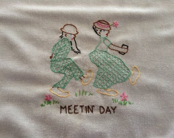 Embroidered Hillbilly Doin's Cotton Towel, Humorous Meetin' Day, Sunday