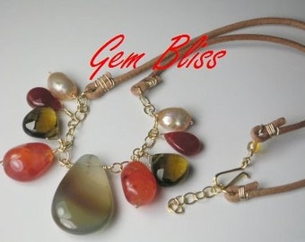 Carnelian Camp Sundance necklace Onyx Quartz Pearls Gold urban cowgirl leather