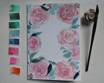 Carte de vœux personnalisable roses à l'aquarelle