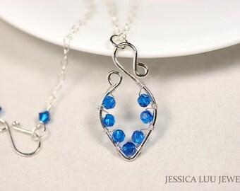 Blue Swarovski Crystal Necklace Wire Wrapped Jewelry Handmade Bright Blue Necklace Capri Blue Swarovski Crystal Jewelry Sterling Silver