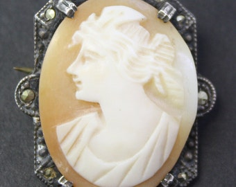 Vintage Sterling silver, Marcasite Carved Shell Cameo Brooch
