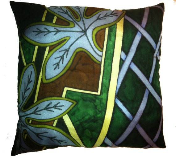 BLUE LEAVES -Decorative Hand Painted Silk Pillow