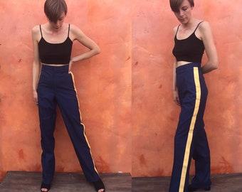 Vintage Uniform Pants. Blue With yellow stripes. Waist 34 Circus pants Marching Band pants Postman's pants postal worker's pants