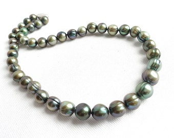 """HONORA Olive Green Fresh Water Cultured Large Pearl 18"""" Long Necklace - Sterling Clasp - Estate Jewelry"""
