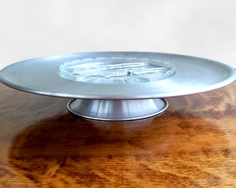 Mid Century Lazy Susan Party Platter, Serving Dish, Aluminum & Glass