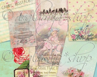 JOURNALING TAGS 01 collage Digital Images  -printable download File