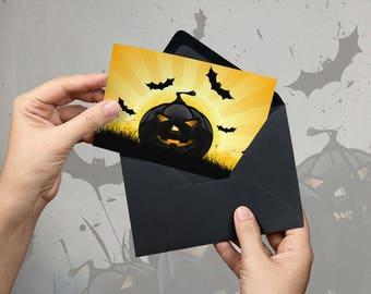 Halloween Card, Halloween Greeting, Pumpkin, Bat, Postcard, Greeting Card, Halloween Poster, Party Poster, Halloween Party - ONLY FILES
