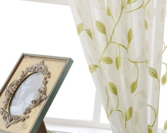 Sheer Curtain Voile Panel With Cotton Embroidery Pattern. One Panel. Choose Width and Length. Made To Order. Custom Size Available.