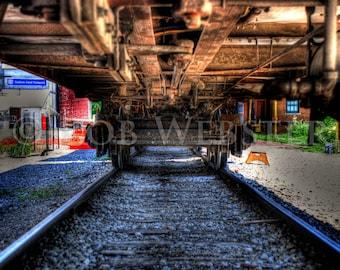 The Tracks Under the Train, HDR Fine Art Photograph Print,  8x10