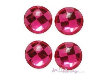 Set of 5 large rhinestones pink checkerboard craft scrapbooking embellishment *.
