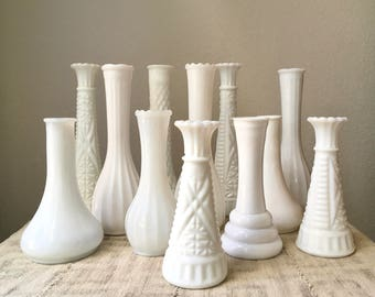 Vintage Milk Glass Vase Collection